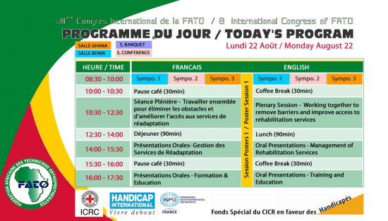 Programme du jour 2 - Lundi